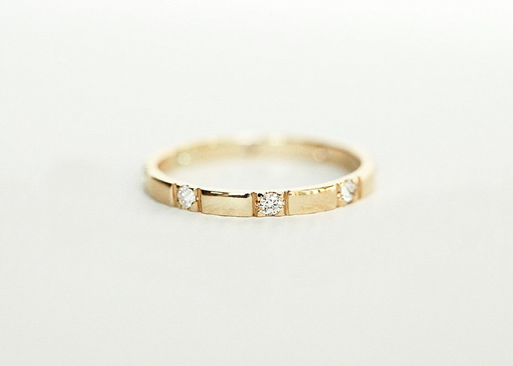 Eternity Diamond Ring, Yellow Gold Diamond Ring by  capucinne