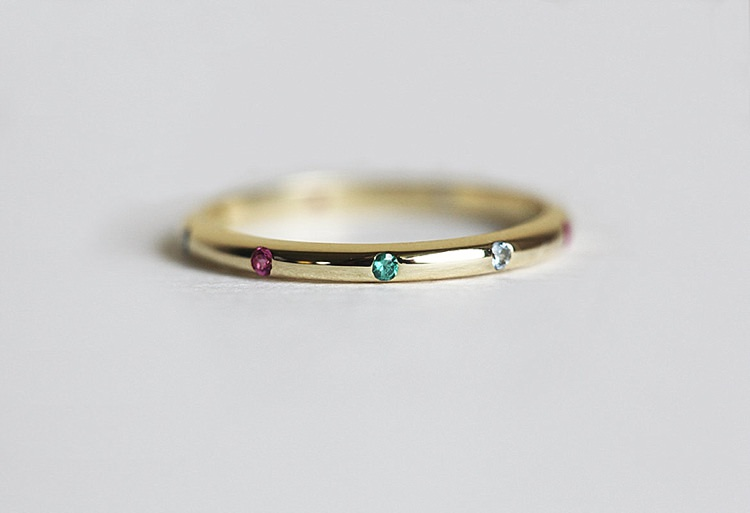 Gold Emerald Band, Gold Ruby Band, Thin Birthstone Band, Gemstone Ring, Thin Eternity Ring, 14k solid gold by MinimalVS