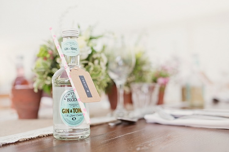 Gin Tonic Favours Bottles Drinks Home Made Countryside Spring Wedding Sequin Gold Dress Oxford http://www.cottoncandyweddings.co.uk/
