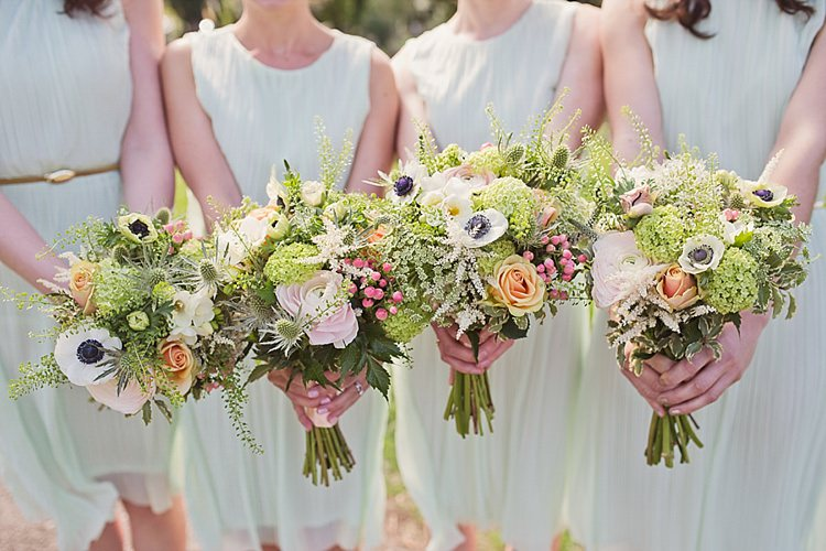 Bouquets Flowers Pretty Bridesmaids Pink Peach Green Home Made Countryside Spring Wedding Sequin Gold Dress Oxford http://www.cottoncandyweddings.co.uk/