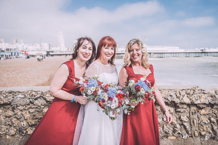 Red Lindybop Bridesmaid Dresses Brighton Rocks Vintage 1950s Kiss Me Quick Red White Blue Wedding http://www.neilwilliamshaw.co.uk/