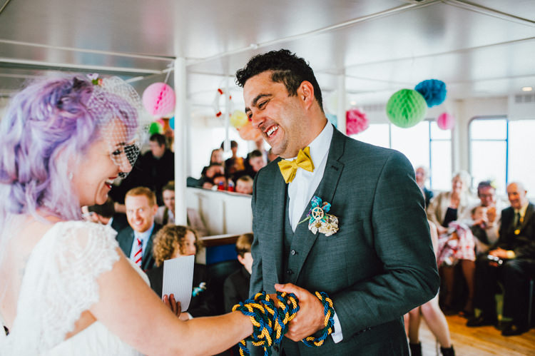 Handfasting Happy Favourite Place Seaside Clocks Exmouth Wedding http://www.alextentersphotography.co.uk/