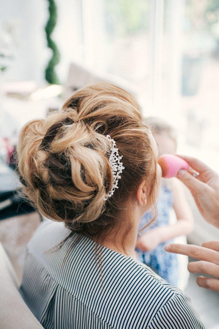 Bride Bridal Hair Syle Up Do Bun Whimsical Peach Afternoon Tea Party Wedding http://clairemacintyre.com/