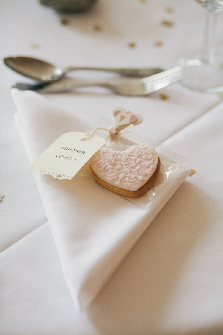 Heart Biscuit Favour Whimsical Peach Afternoon Tea Party Wedding http://clairemacintyre.com/