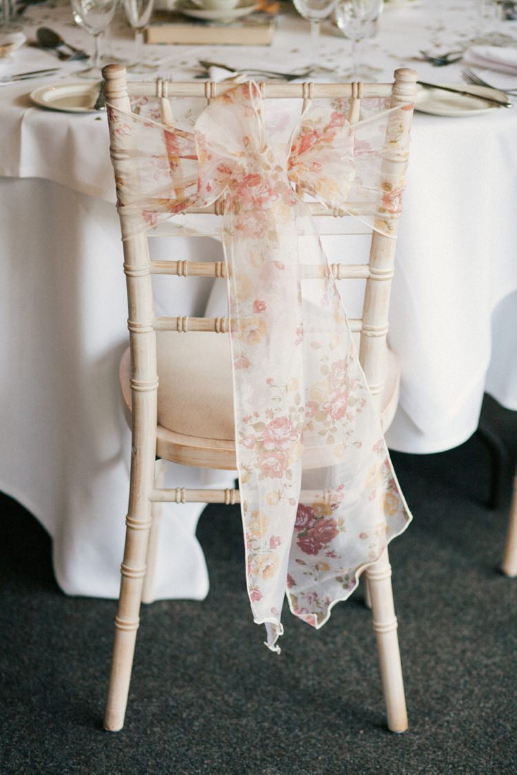 Floral Sash Ribbon Chair Cover Whimsical Peach Afternoon Tea Party Wedding http://clairemacintyre.com/