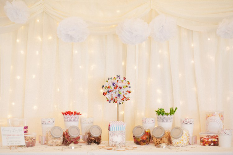 Sweetie Table Sweets Fairy Lights Pom Poms Whimsical Peach Afternoon Tea Party Wedding http://clairemacintyre.com/