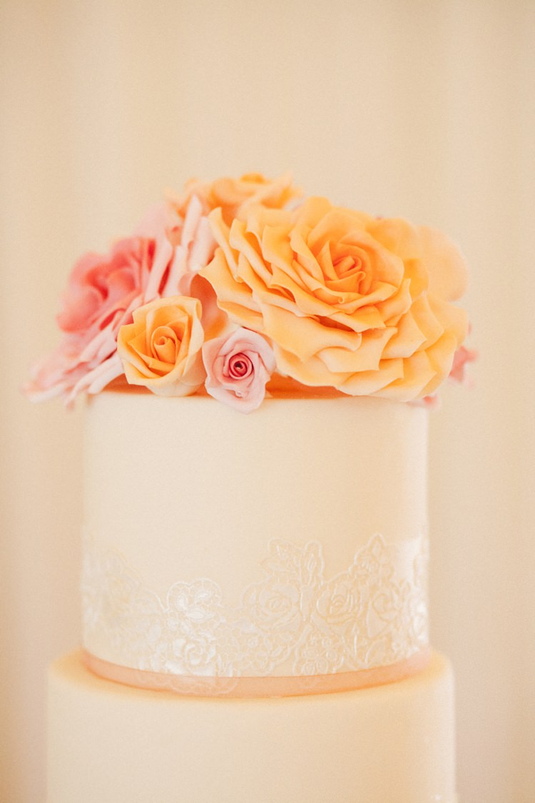 Sugar Roses Cake Lace Whimsical Peach Afternoon Tea Party Wedding http://clairemacintyre.com/