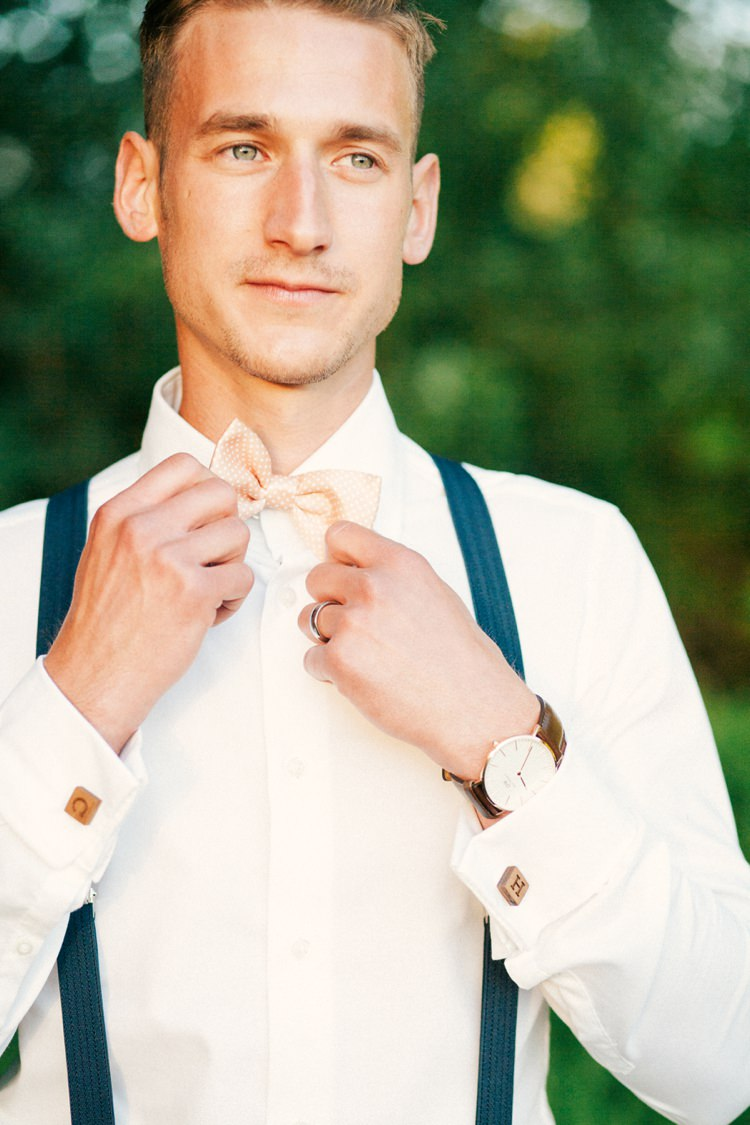 Bow Tie Braces Groom Style Attire Whimsical Peach Afternoon Tea Party Wedding http://clairemacintyre.com/