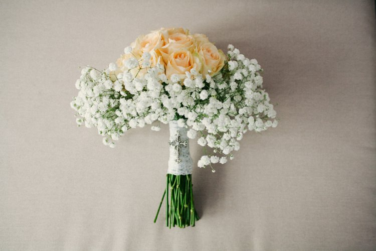 Rose Gypsophila Baby Breath Bouquet Whimsical Peach Afternoon Tea Party Wedding http://clairemacintyre.com/