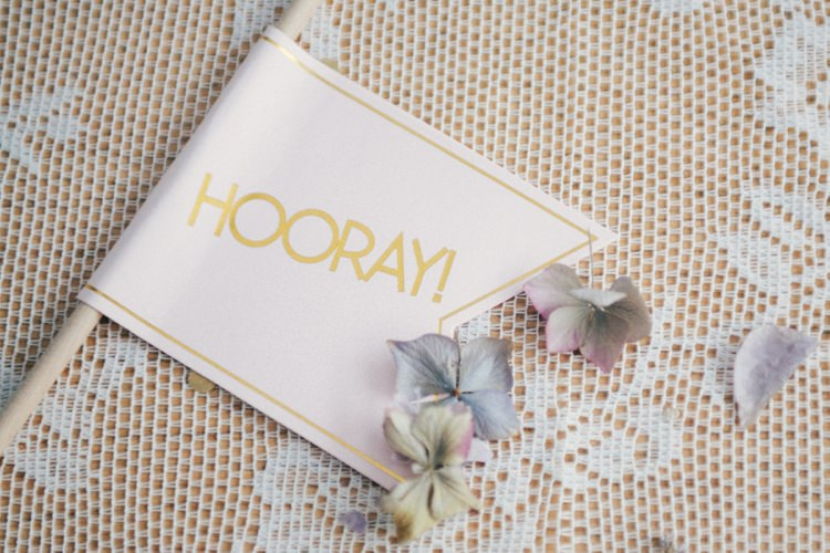Hooray Flag Whimsical Peach Afternoon Tea Party Wedding http://clairemacintyre.com/