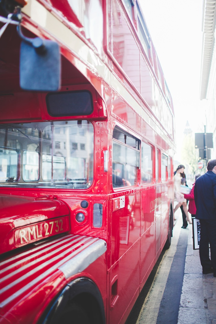 Routemaster Red Bus Transport Enchanting Spring Lavender London Wedding http://www.jessicareeve-photography.com/