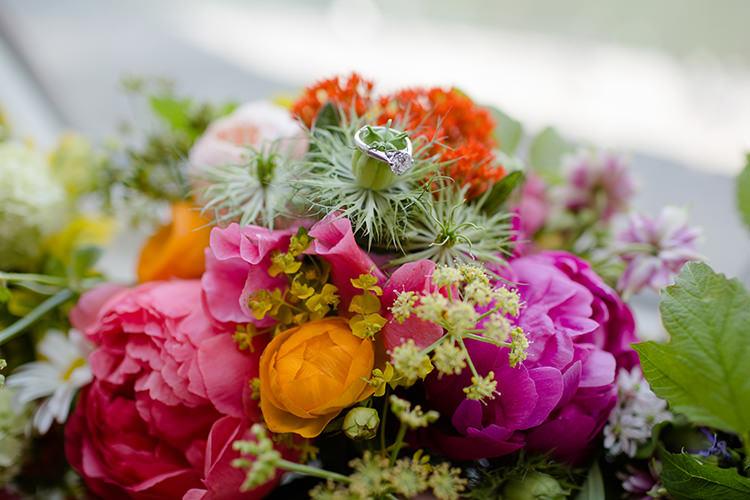Princess Diamond Engagement Ring Vibrant Quirky Colourful Spring London Wedding http://www.ireneyapweddings.com/