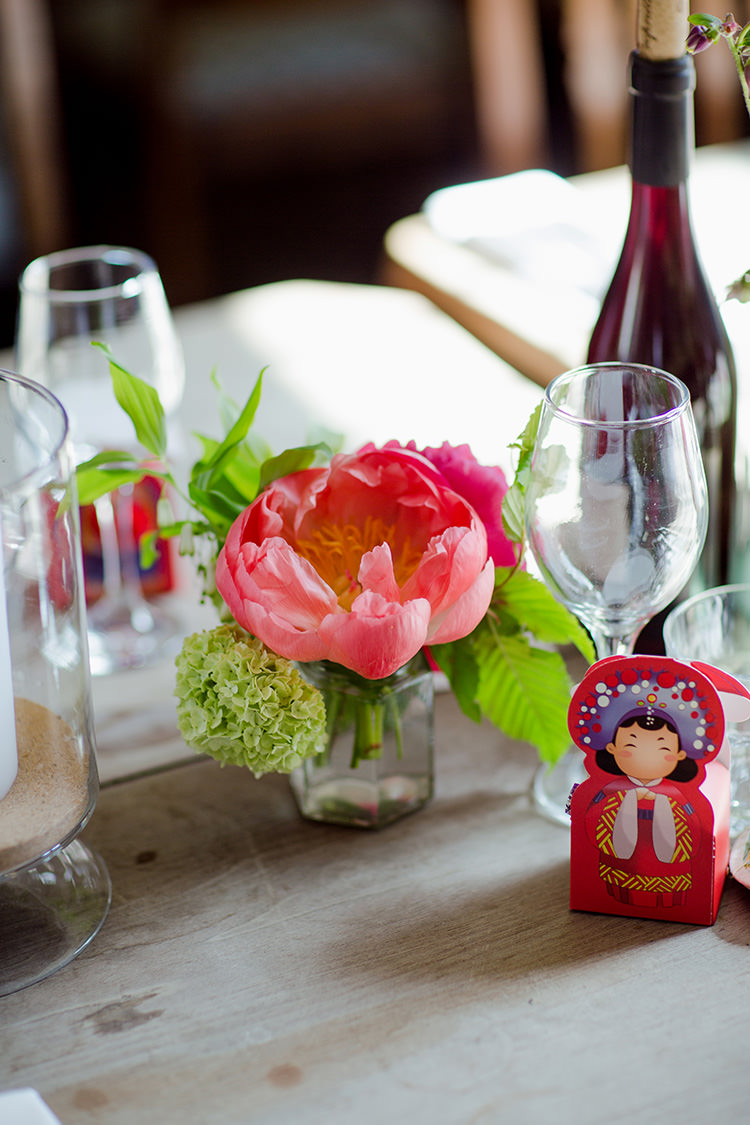 Coral Peony Flowers Table Centrepiece Vibrant Quirky Colourful Spring London Wedding http://www.ireneyapweddings.com/