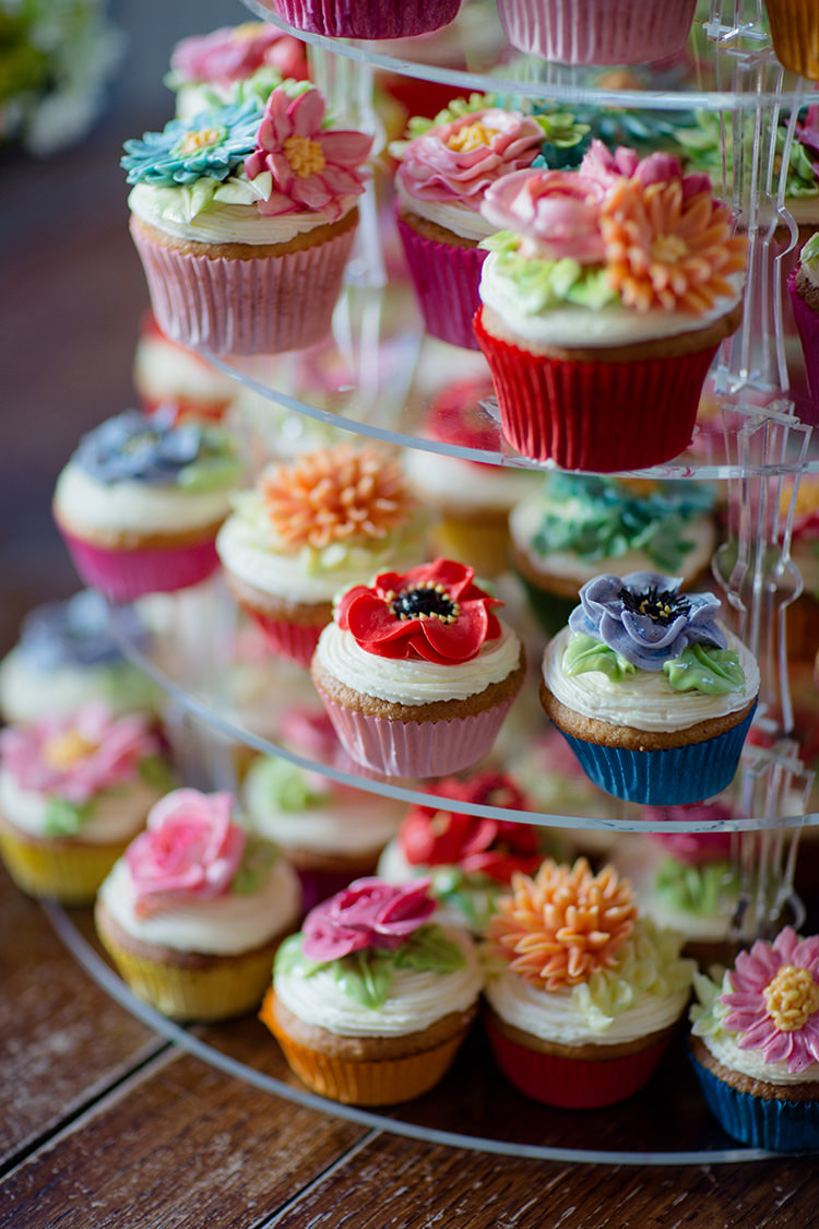 Flower Floral Cup Cakes Vibrant Quirky Colourful Spring London Wedding http://www.ireneyapweddings.com/