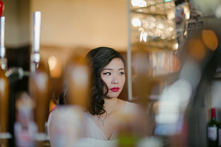 Red Lipstick Bride Make Up Side Hair Style Vibrant Quirky Colourful Spring London Wedding http://www.ireneyapweddings.com/