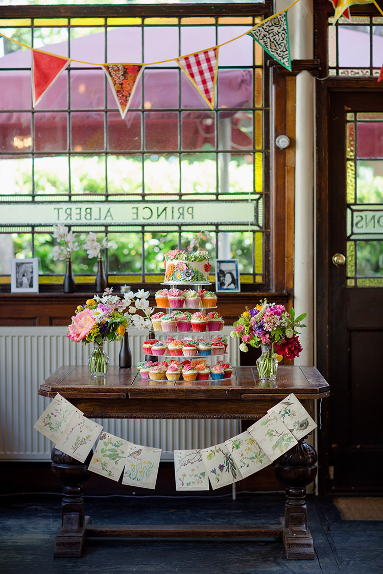 Floral Flower Cake Table Vibrant Quirky Colourful Spring London Wedding http://www.ireneyapweddings.com/