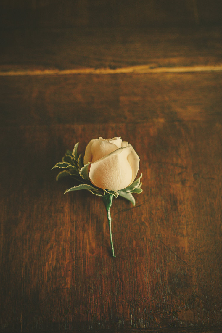 White Rose Buttonhole Relaxed Rustic Coral Peony Barn Wedding http://www.benjaminstuart.co.uk/