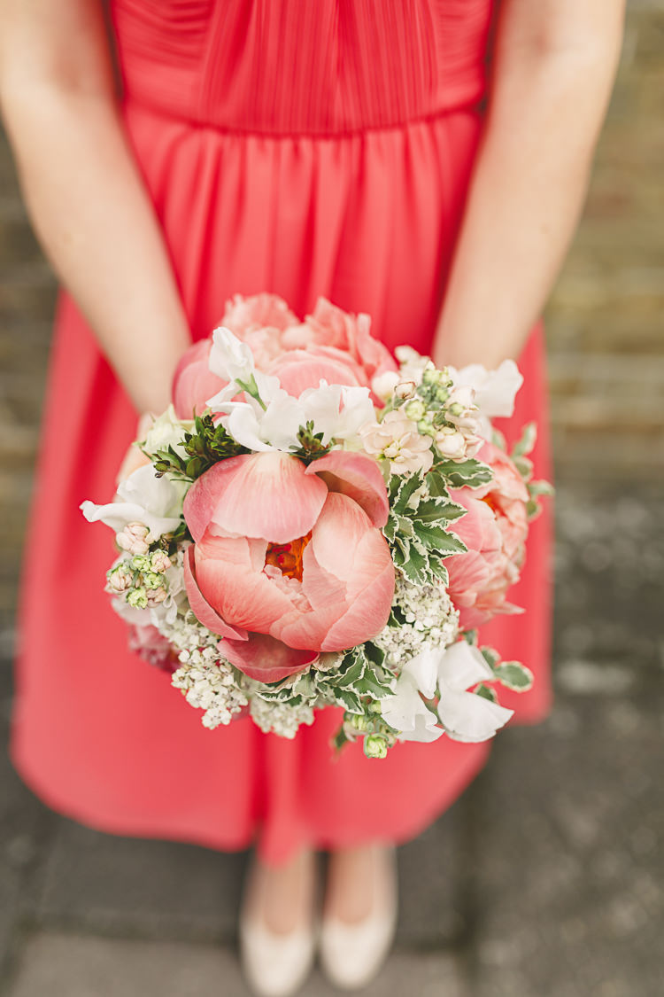 Bridesmaid Bouquet Flowers Peonies Pink Relaxed Rustic Coral Peony Barn Wedding http://www.benjaminstuart.co.uk/