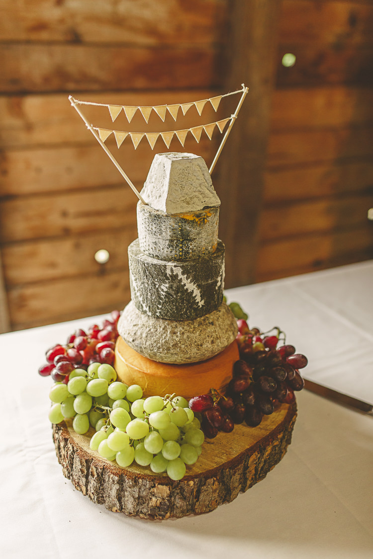 Cheese Tower Stack Cake Bunting Log Relaxed Rustic Coral Peony Barn Wedding http://www.benjaminstuart.co.uk/