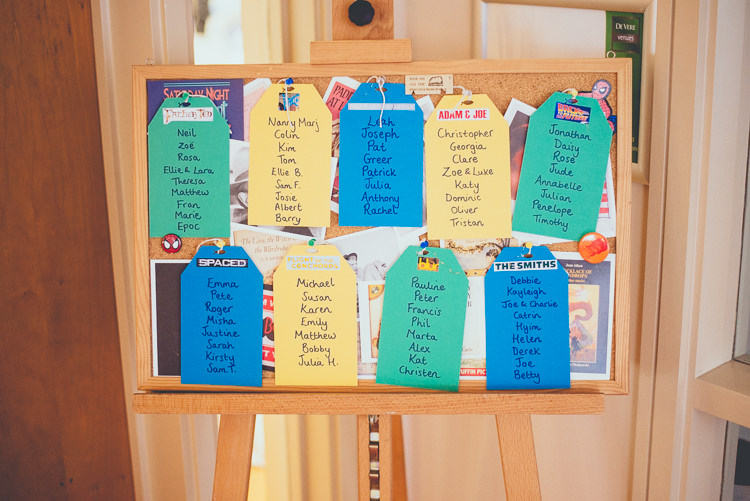 Cork Board Luggage Tag Table Seating Plan Chart Fun Enchantment Under The Sea Dance Blue London Wedding http://bigbouquet.co.uk/