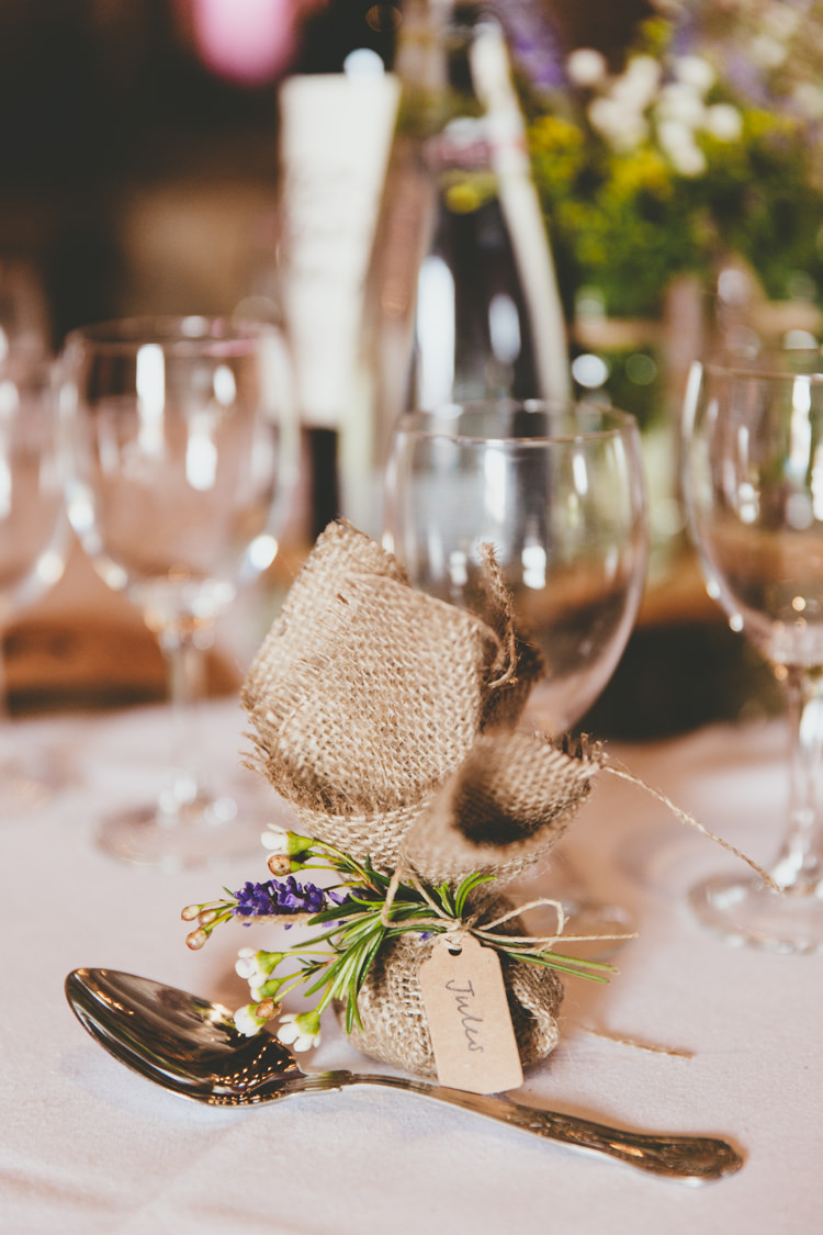 Hessian Bag Flowers Favour Relaxed Fun Rustic Countryside Barn Wedding http://www.paulunderhill.com/
