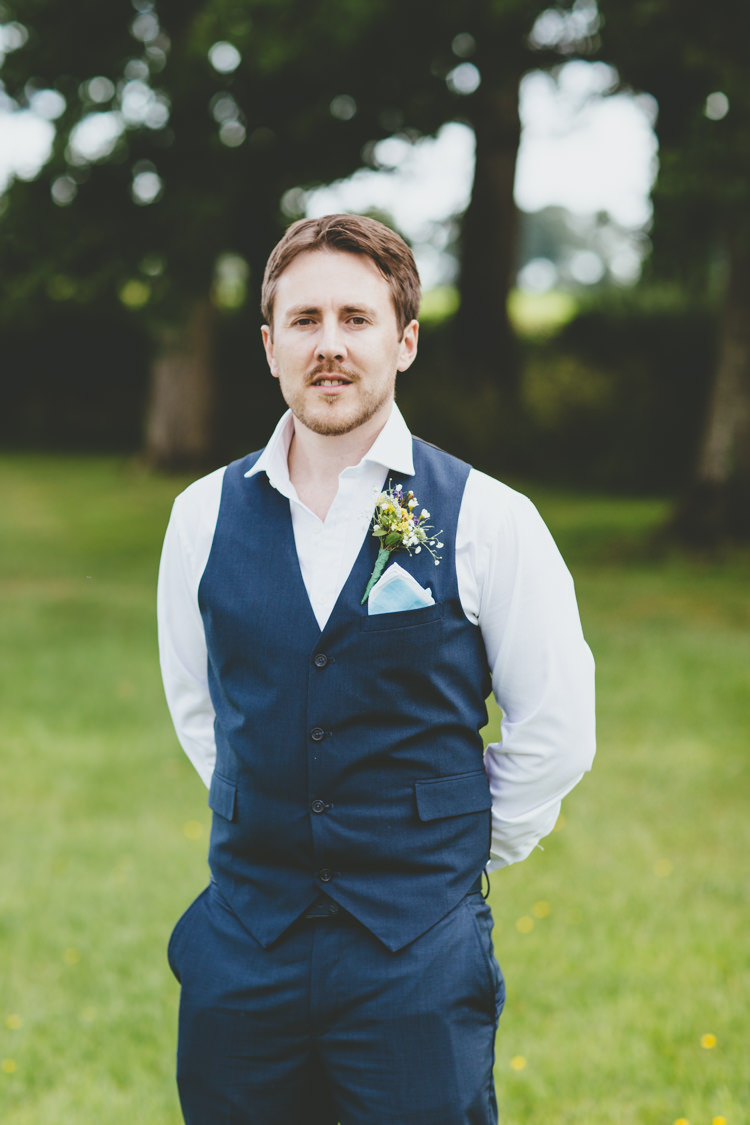 Blue Waitcoat Open Shirt Groom Style Relaxed Fun Rustic Countryside Barn Wedding http://www.paulunderhill.com/