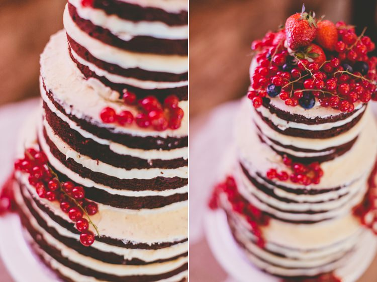 Naked Cake Chocolate Berries Icing Sponge Layers Relaxed Fun Rustic Countryside Barn Wedding http://www.paulunderhill.com/