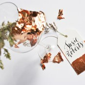 "Modern Calligraphy Tutorial. Copper ""Dipped"" Wedding Place Name Settings DIY"