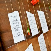 Modern Calligraphy Tutorial. Suspended Flower Wedding Seating Plan DIY