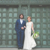 Relaxed & Stylish City Wedding Where They Walked Down the Aisle Together