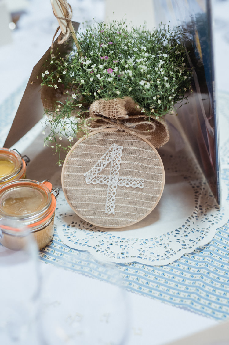Table Numbers Stitched Sewn Embroidery Hoop Hessian English Country Farm Barn Home Made Wedding http://www.angelawardbrown.com/