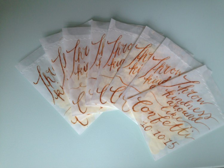 Envelope Confetti Bags Gold Lettering Calligraphy