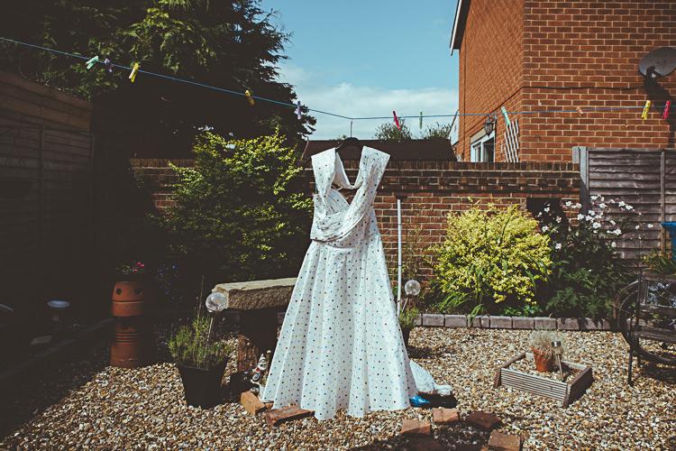 Oh My Honey Polka Dot Dress Gown Bride Bridal Back Garden Vintage Pastel Seaside Wedding http://photo.shuttergoclick.com/