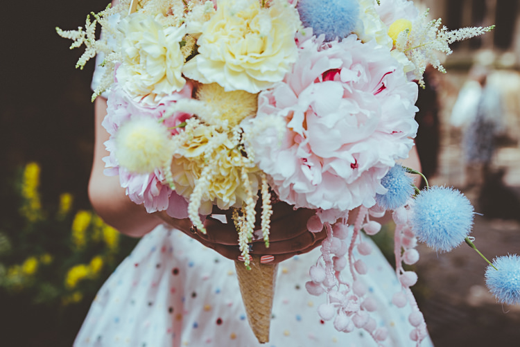 Ice Cream Cone Bouquet Flowers Bride Bridal Peony Pink Blue Yellow Pom Poms Back Garden Vintage Pastel Seaside Wedding http://photo.shuttergoclick.com/