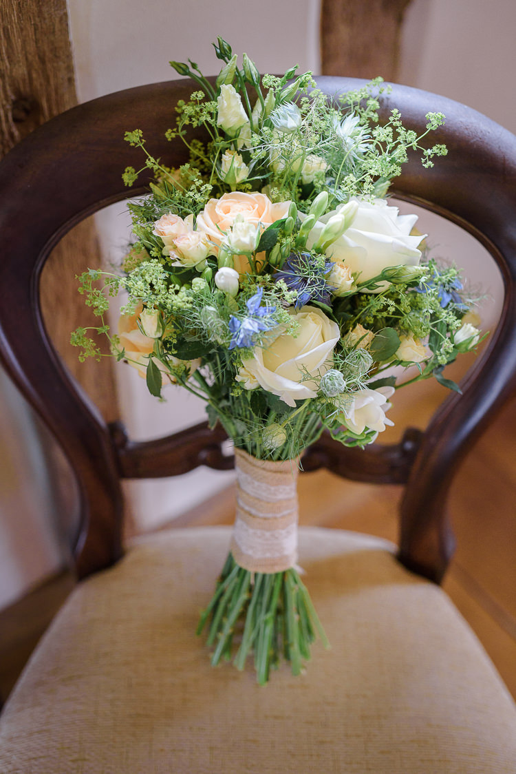White Rose Bouquet Ivory Hessian Bride Flowers Bridal Blue Natural Wild Pretty Rustic Woodland Wedding
