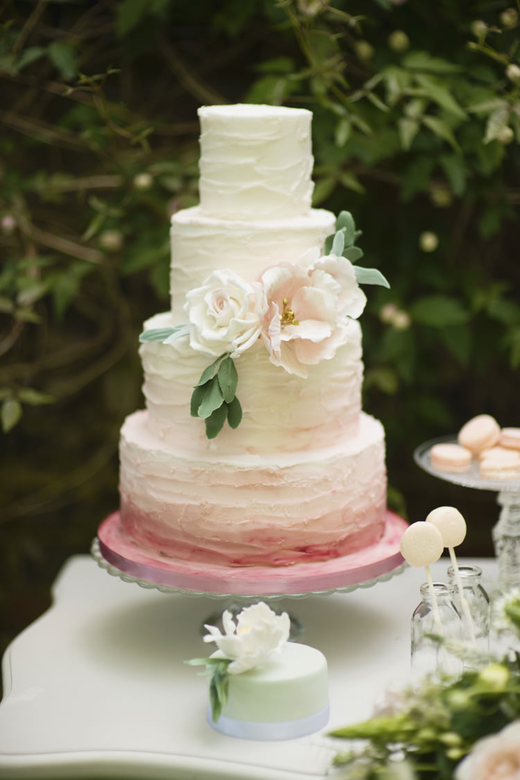 Cake Ombre Ruffle Flower Pink Quintessential English Elegant Soft Blush Blossom Wedding Ideas http://careysheffield.com/