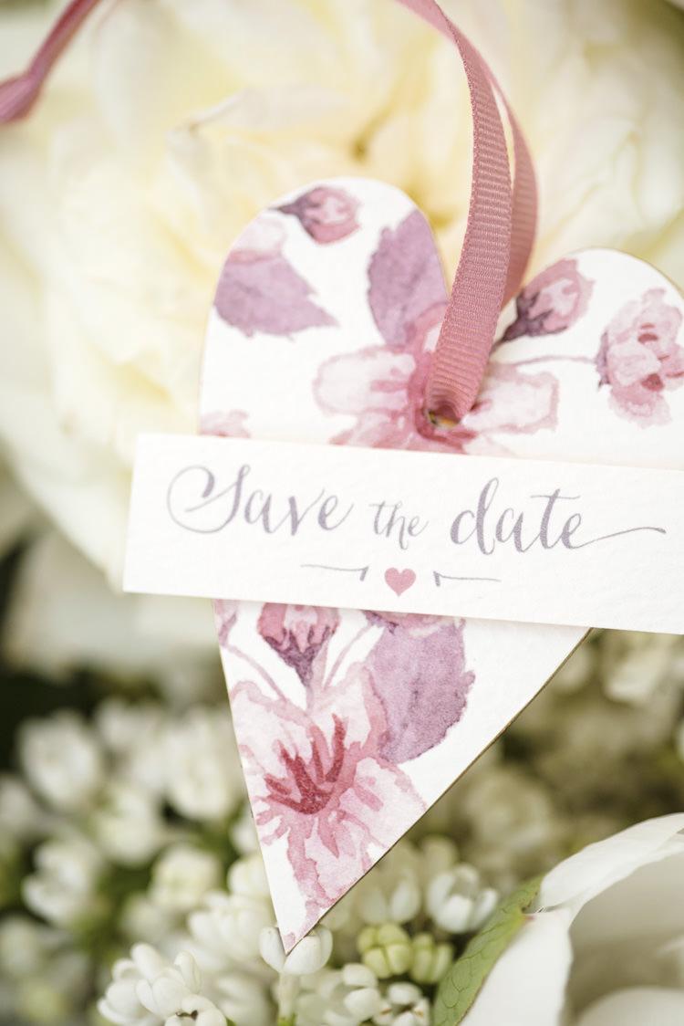 Watercolour Stationery Save the Date Quintessential English Elegant Soft Blush Blossom Wedding Ideas http://careysheffield.com/