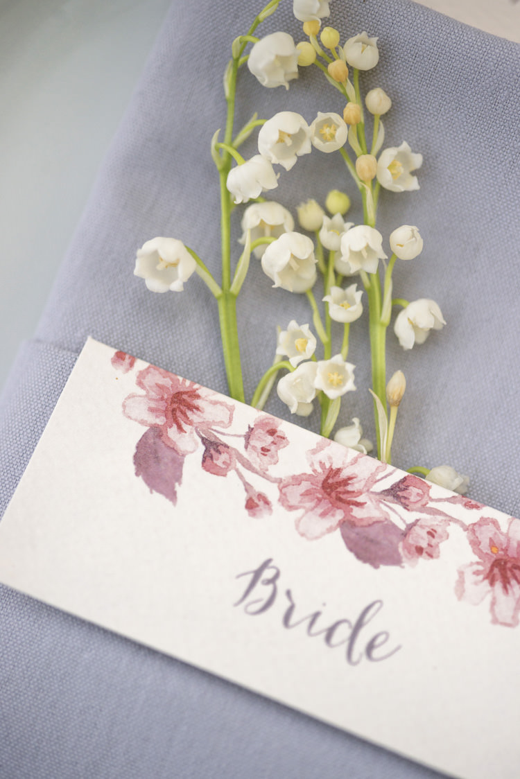 Watercolour Place Name Floral Quintessential English Elegant Soft Blush Blossom Wedding Ideas http://careysheffield.com/