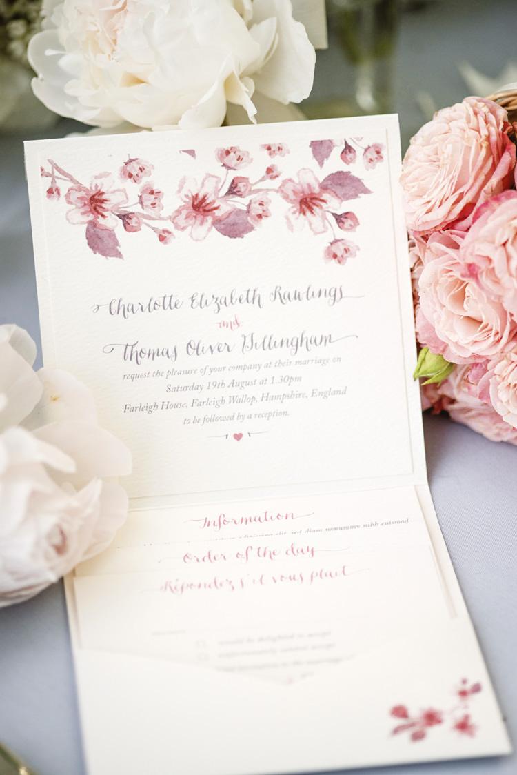 Invitation Watercolour Stationery Quintessential English Elegant Soft Blush Blossom Wedding Ideas http://careysheffield.com/