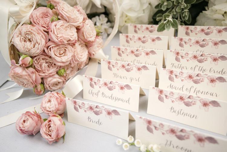 Escort Cards Place Names Stationery Quintessential English Elegant Soft Blush Blossom Wedding Ideas http://careysheffield.com/