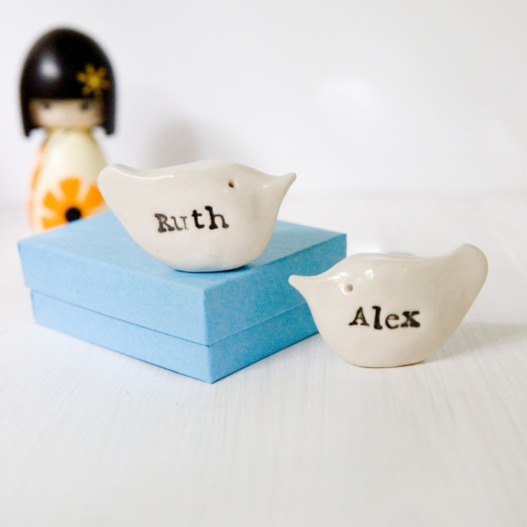 Personalised Names Birds Cake Toppers Wedding