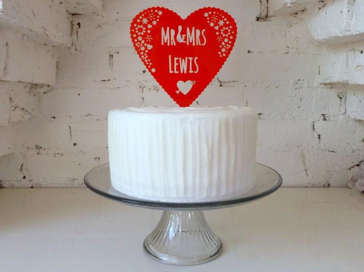 Personal Heart Love Wedding Cake Topper