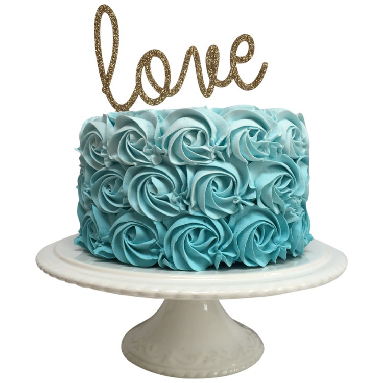 Love Glitter Wedding Cake Topper