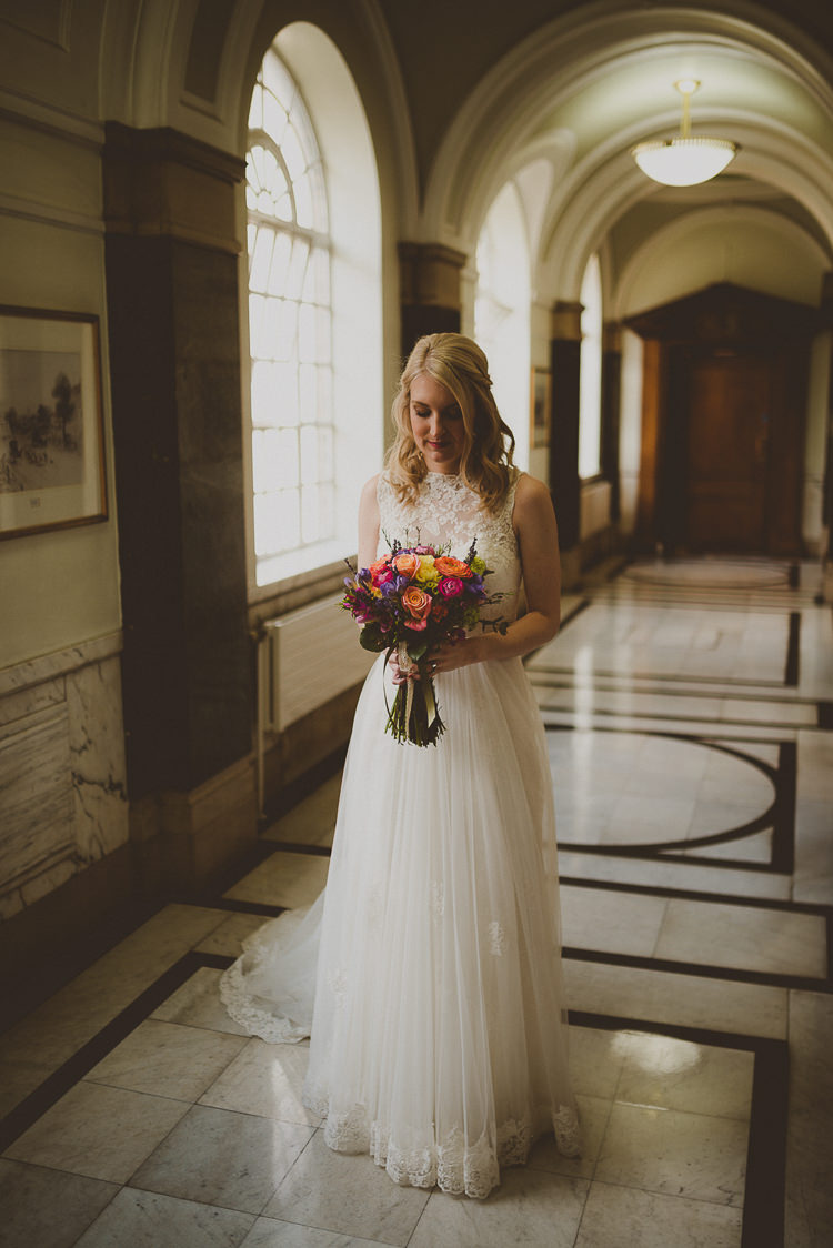 Justin Alexander Dress Bride Lace Tulle Street Party London Spring Flower Wedding http://www.modernvintageweddings.com/