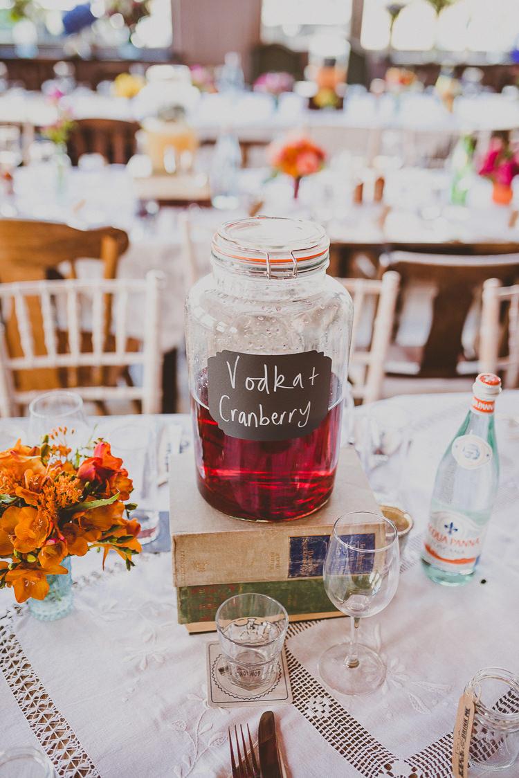 Drinks Table Names Street Party London Spring Flower Wedding http://www.modernvintageweddings.com/