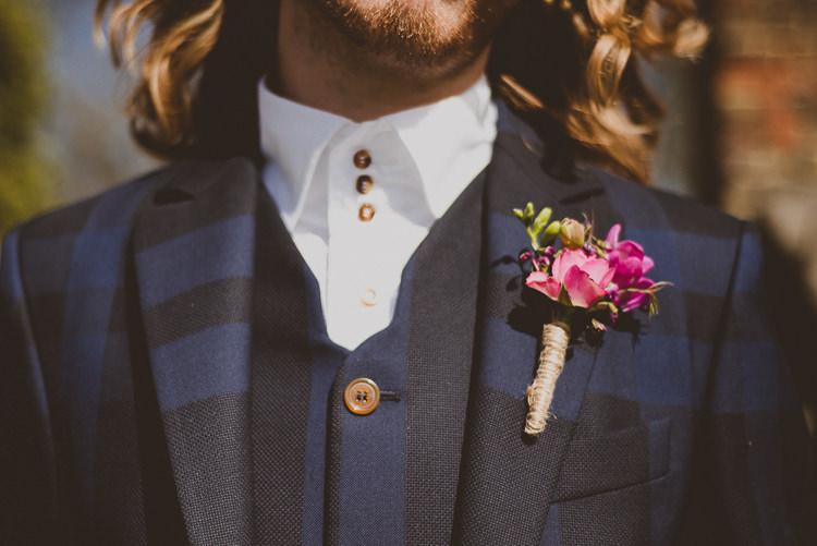 Vivienne Westwood Groom Check Suit No Tie Buttonhole Street Party London Spring Flower Wedding http://www.modernvintageweddings.com/
