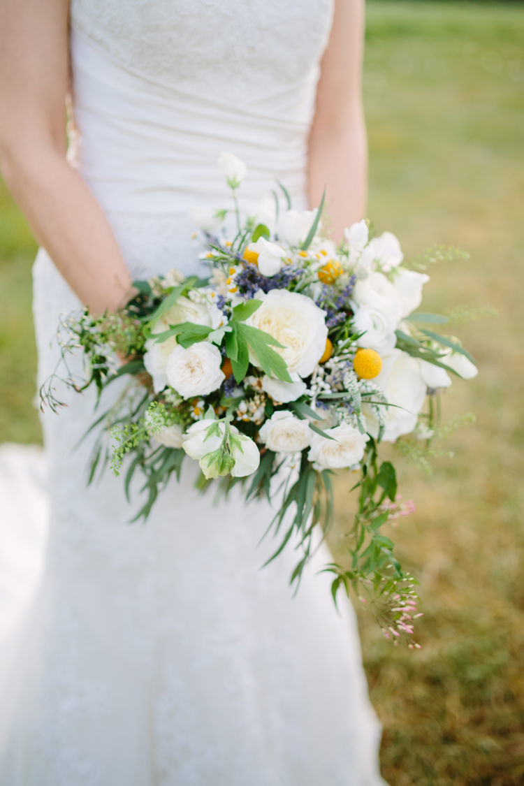 Whimsical Wild Natural Bouquet Bride Bridal Rose Rustic Country Garden Barn Yellow Navy Wedding http://hayleysavagephotography.co.uk/