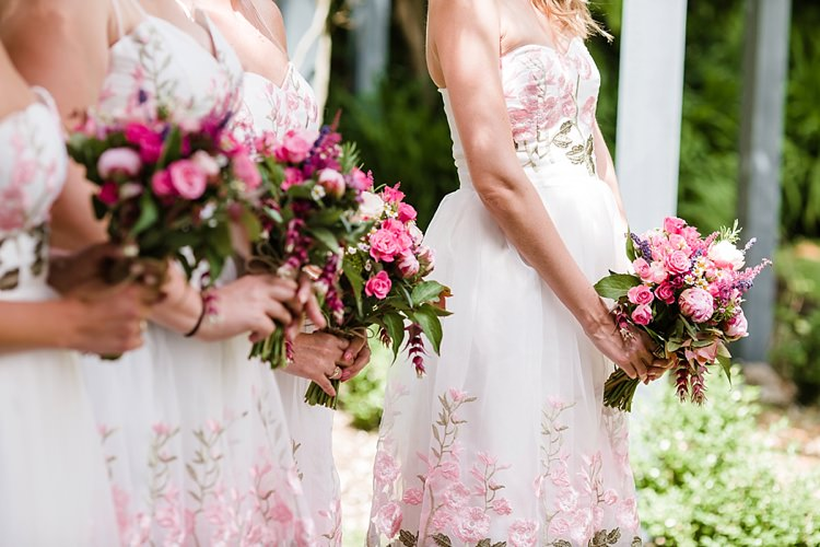 Pretty Pink Bridesmaid Bouquets Graceful Relaxed Summer Garden Wedding http://www.nataliemartinphoto.com/