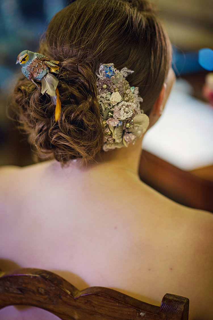 Feathered Bird Hair Style Bride Bridal Up Relaxed Country Outdoor Flowers Bright Summer Wedding http://www.photographybyvicki.co.uk/