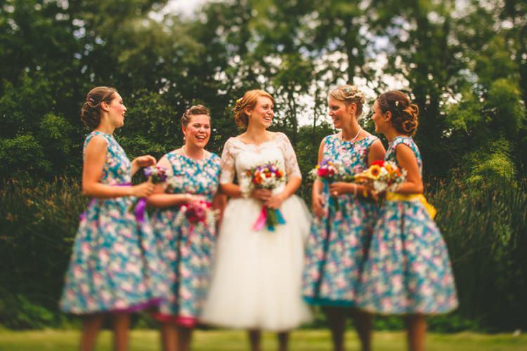 Lindy Bop Bridesmaid Dresses Vintage Floral Colourful Fun Garden Yurt Wedding http://mikiphotography.info/